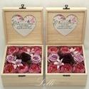 Mályva rózsás selyemvirág szülőköszöntő virágdobozok párban