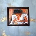 Anya és gyermeke-olaj festmény, Otthon, lakberendezés, Képzőművészet, Festmény, Anyák napja, Varrás, Festészet,  Saját készítésű olajfestményem, másolat nem készült belőle, egyedi darab.  A festmény olajjal és  ..., Meska