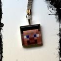 kulcstartó-minecraft, Mindenmás, Ékszer, Kulcstartó 2,3 mm átmérőjű  ezüstszínű kör alakú kulcskarikával, szintén ezüstszínű s..., Meska