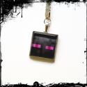 kulcstartó-minecraft üveglencse, Mindenmás, Ékszer, Kulcstartó 2,3 mm átmérőjű  ezüstszínű kör alakú kulcskarikával, szintén ezüstszínű s..., Meska