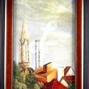 festmény kerettel- Budapest külvárosa nyári naplemente, Dekoráció, Képzőművészet, Festmény, Olajfestmény, Festészet, Saját készítésű olajfestményem, másolat nem készült belőle, egyedi darab.  Nappali ablakom látványa..., Meska