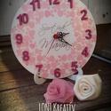 Asztali óra- Mamának, Otthon, lakberendezés, Falióra, Festett tárgyak, 18cm átmérőjű asztali órát készítettem.    A fényképen lévő termék transzfertechnikával készült. 2 ..., Meska