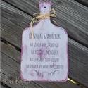 Konyhai dekor tábla, Konyhafelszerelés, Otthon, lakberendezés, Falikép, Decoupage, transzfer és szalvétatechnika, Kb. 12x22cm-es 3mm vatag konyhai dekor tábla vintage lila és fehér színben visszakoptatva vicces sz..., Meska