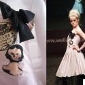 babás ruha - púder vagy fekete színű, Ruha, divat, cipő, Púderrózsaszín vagy fekete ruha, szitanyomással készült porcelánbabás grafikával és masniv..., Meska