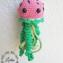 Dinnye medúza , Baba-mama-gyerek, Játék, Dekoráció, Játékfigura, Aranyos dinnye mintázatú horgolt kis medúza.  Kb 15cm, Meska