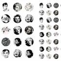 Régi idők nagyjai DIGITÁLIS kép vegyes kerek lencse ékszerhez, Audrey Hepburn, Marilyn Monroe, Sophia Loren, Gina...