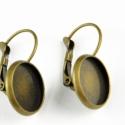 Francia kapcsos antik bronz fülbevaló alap (12 mm), Francia kapcsos fülbevaló alap, antik bronz szí...