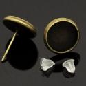 Bedugós antik bronz fülbevaló alap (12 mm), Bedugós fülbevaló alap, antik bronz színben, s...