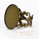 Antik bronz csipkés gyűrű alap (13x18 mm), Belső átmérője: 13x18mm  Szín: Antik bronz  A...