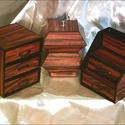 MINTHAFA - Faerezetes ékszerdoboz / írószertartó szett /mahagóni/, Dekoráció, Dísz, Faerezetes mintájú doboz szett mahagóni színben.  Kartonpapírból készült, TARTÓS, igényesen kialakít..., Meska