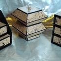 PARAFA HATÁSÚ ékszerdoboz / írószertartó szett, Dekoráció, Dísz, Parafa mintájú doboz szett.  Kartonpapírból készült, TARTÓS, igényesen kialakított, különböző formáj..., Meska