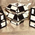 FEKETE-FEHÉR NAGYKOCKÁS ékszerdoboz / írószertartó szett /fekete alapon/, Dekoráció, Dísz, FEKETE-FEHÉR NAGYKOCKÁS doboz-szett /fekete alapon/  Kartonpapírból készült, TARTÓS, igényesen kiala..., Meska