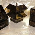 FEKETE-ARANY ékszerdoboz / írószertartó szett /fekete alapon/, Dekoráció, Dísz, Nagyon elegáns FEKETE-ARANY doboz-szett /fekete alapon/  Kartonpapírból készült, TARTÓS, igényesen k..., Meska