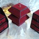 BORDÓ BÁRSONY ékszerdoboz / írószertartó szett /fekete alapon/, Dekoráció, Dísz, BORDÓ BÁRSONY doboz-szett /fekete alapon/  Kartonpapírból készült, TARTÓS, igényesen kialakított, kü..., Meska