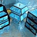 TENGERKÉK ékszerdoboz / írószertartó szett /fekete alapon/, Dekoráció, Dísz, TENGERKÉK doboz-szett /fekete alapon/  Kartonpapírból készült, TARTÓS, igényesen kialakított, különb..., Meska