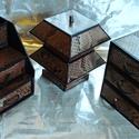ARANY-BARNA ékszerdoboz / írószertartó szett /fekete alapon/, Dekoráció, Dísz, ARANY-BARNA doboz-szett /fekete alapon/  Kartonpapírból készült, TARTÓS, igényesen kialakított, külö..., Meska