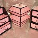 MINTHAFA - Faerezetes ékszerdoboz / írószertartó szett /RÓZSASZÍN/, Dekoráció, Dísz, Faerezetes mintájú doboz szett rózsaszín színben.  Kartonpapírból készült, TARTÓS, igényesen kialakí..., Meska