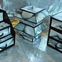 KAVICS MINTÁJÚ ékszerdoboz / írószertartó szett /fekete alapon/, Dekoráció, Dísz, KAVICS MINTÁJÚ doboz-szett /fekete alapon/  Kartonpapírból készült, TARTÓS, igényesen kialakított, k..., Meska