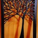ÉBEN FEKETE FA / FALI KÉP, Otthon, lakberendezés, Képzőművészet, Vegyes technika, Falikép, Feszített vászon az alap, ebből úgy vágtam ki ezt az ágas-bogas fát, hogy a vászon keret széle tarts..., Meska