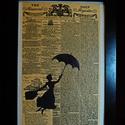 MARY POPPINS / FALI KÉP (A/4-es méretű), Otthon, lakberendezés, Képzőművészet, Vegyes technika, Falikép, The Daily Universal napilapra fekete alkoholos filccel rajzolt stilizált Mary Poppins-figura, fekete..., Meska