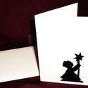 KARÁCSONYI ÜDVÖZLŐLAP / ÜDVÖZLŐKÁRTYA, ajándékkísérő, képeslap (csillagos), Dekoráció, Ünnepi dekoráció, Karácsonyi, adventi apróságok, Ajándékkísérő, képeslap, Karácsonyi dekoráció, Fehér kartonpapír alapra fekete öntapadós tapétából készített minta (borítékkal) A karácsonyi ajándé..., Meska