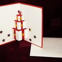 3D-s KARÁCSONYI ÜDVÖZLŐLAP / ÜDVÖZLŐKÁRTYA, ajándékkísérő, képeslap, Dekoráció, Karácsonyi, adventi apróságok, Ünnepi dekoráció, Ajándékkísérő, képeslap, Karácsonyi dekoráció, Fehér és piros kartonpapír alapra 3D-ben készített ajándékdobozok (borítékkal) A karácsonyi ajándék ..., Meska