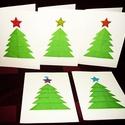 3D-s KARÁCSONYI ÜDVÖZLŐLAP / ÜDVÖZLŐKÁRTYA, ajándékkísérő, képeslap (zöld fenyő), Dekoráció, Karácsonyi, adventi apróságok, Ünnepi dekoráció, Ajándékkísérő, képeslap, Fehér kartonpapír alapra origami technikával készített fenyőfa (borítékkal) A karácsonyi ajándék mel..., Meska