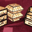 Rattan hatású ékszerdoboz / írószertartó szett /fekete alapon/, Dekoráció, Dísz, Rattan hatású doboz-szett /fekete alapon/  Kartonpapírból készült, TARTÓS, igényesen kialakított, kü..., Meska