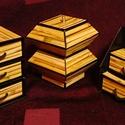 Bambusznád hatású ékszerdoboz / írószertartó szett /fekete alapon/, Dekoráció, Dísz, Bambusznád hatású doboz-szett /fekete alapon/  Kartonpapírból készült, TARTÓS, igényesen kialakított..., Meska