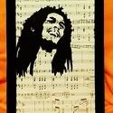 BOB MARLEY - REGGAE / FALI KÉP (A/4-es méretű), Kottára fekete alkoholos filccel rajzolt stilizá...
