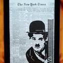 Chaplin / FALI KÉP (A/4-es méretű), Egykori The New York Times napilapra fekete alkoho...