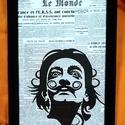 Dali / FALI KÉP (A/4-es méretű), Egykori francia Le Monde napilapra fekete alkoholo...
