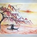A Szumida folyónál, Képzőművészet, Festmény, Akvarell, Festészet, Eladásra kínálom 2014-ben készített festményem. A kép mérete A2, azaz 597×420 mm, a felhasznált fes..., Meska