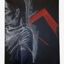 Red Triangle, Képzőművészet, Grafika, Rajz, Eladásra kínálom 2017-ben készített, fekete papíralapon fehér és vörös pasztellkrétával ..., Meska