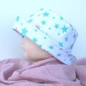 Nyári kalap, világoskék csillagokkal., Ruha, divat, cipő, Kendő, sál, sapka, kesztyű, Sapka, Nyári kalap, világoskék csillagokkal.  anyaga: pamutvászon (100% pamut)  mérete: 50 (fejkörfog..., Meska