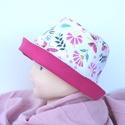 Nyári kalap, virágos kert mintával, pink béléssel., Ruha, divat, cipő, Kendő, sál, sapka, kesztyű, Sapka, Nyári kalap, virágos kert mintával, pink béléssel.  anyaga: pamutpuplin (100% pamut)  méret: 4..., Meska