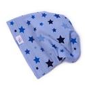 Gyereksapka, téli, kék csillagok, Ruha, divat, cipő, Kendő, sál, sapka, kesztyű, Sapka, Gyereksapka, téli, kék csillagok.  A sapka kétrétegű, hosszított fazonú, így felvéve kicsit..., Meska