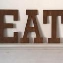 EAT felirat-dekoráció, Dekoráció, Otthon, lakberendezés, Dísz, Falikép, Famegmunkálás, EAT- 8mm vastagságú rétegelt fenyőből készült, a betűk egyenként 30cm magasak. Szín:dió. A felirat ..., Meska