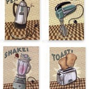 Hűtőmágnes szett, Konyhafelszerelés, Otthon, lakberendezés, Dekoráció, Hűtőmágnes, Mindenmás, A feltüntetett ár a négy darab mágnesre vonatozik. Mdf alapra kasírozott papír nyomat,egyenkénti mé..., Meska
