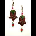 Bordó, zöld tulipán alakú tűzzománc fülbevaló , Tűzzománc ékszereim egytől-egyig saját tervez...