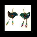 Vidám, felemás :)  Álmodó madárka tűzzománc fülbevaló -  kék, Magyar motívumokkal, Ékszer, Szerelmeseknek, Fülbevaló, Neked mit jelent a könnyed ékszer? Számomra azt, hogy addig rajzolom, tervezem, alakítom, amíg az ér..., Meska