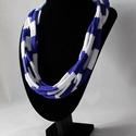 Csíkos, Ékszer, óra, Nyaklánc, Nyári kollekcióm újabb darabja.   Póló fonalból készült kék, fehér csíkos nyaklánc.   A nyaklánc hos..., Meska