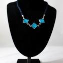Kékség, Ékszer, Ékszerszett, Nyaklánc, Ez a gyönyörű, elegáns nyaklánc abból az ötletből született, hogy az üveglencsés nyakláncaimat jó le..., Meska