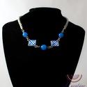 Kék csíkok, Ékszer, Ékszerszett, Nyaklánc, Ez a gyönyörű, elegáns nyaklánc abból az ötletből született, hogy az üveglencsés nyakláncaimat jó le..., Meska