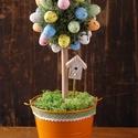 Húsvéti fácska narancssárga, Dekoráció, Húsvéti díszek, Otthon, lakberendezés, Asztaldísz, Virágkötés, Famegmunkálás, Húsvéti fácska egy 12 cm-es bádogkaspóba helyezett, 30 cm magas dísz. A kis színes tojások között, ..., Meska