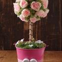 Rózsafa, Dekoráció, Otthon, lakberendezés, Asztaldísz, Virágkötés, Ezt a 30 cm magas anyák napi díszt, egy 12 cm átmérőjű bádogkaspóba készítettem el. A halvány rózsa..., Meska