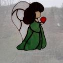 Angyali kislány, Dekoráció, Otthon, lakberendezés, Ünnepi dekoráció, Falikép, Tiffany technikával készült bájos kislány angyal szárnyakkal, Meska