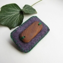 vadnarancs kitűző lilakeretben, Lila bőr alapra varrtam rá egy vadnarancsfból k...
