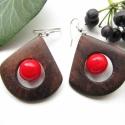 Piros legyező fülbevaló,  A fülbevaló alapja feketediófából készült ...