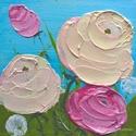 Virágos modern mini festmény 27, Képzőművészet, Otthon, lakberendezés, Festmény, Falikép, Festészet, 6mm vastagságú, mdf alapra akrilfestékkel és pasztával  festett, akasztóval ellátott  virágos  fali..., Meska
